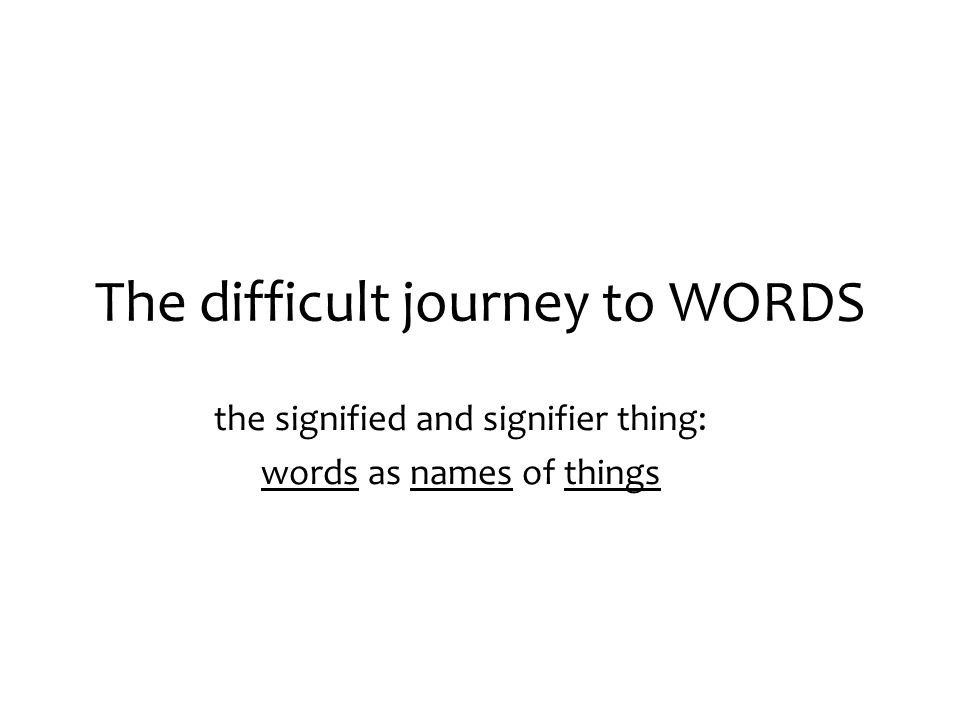 The difficult journey to WORDS the signified and signifier thing: words as names of things