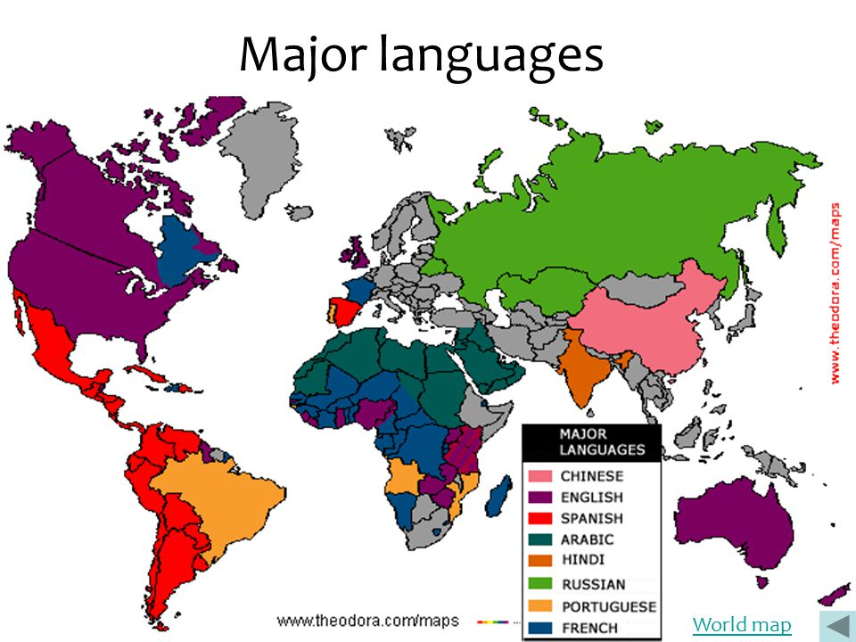Major languages World map