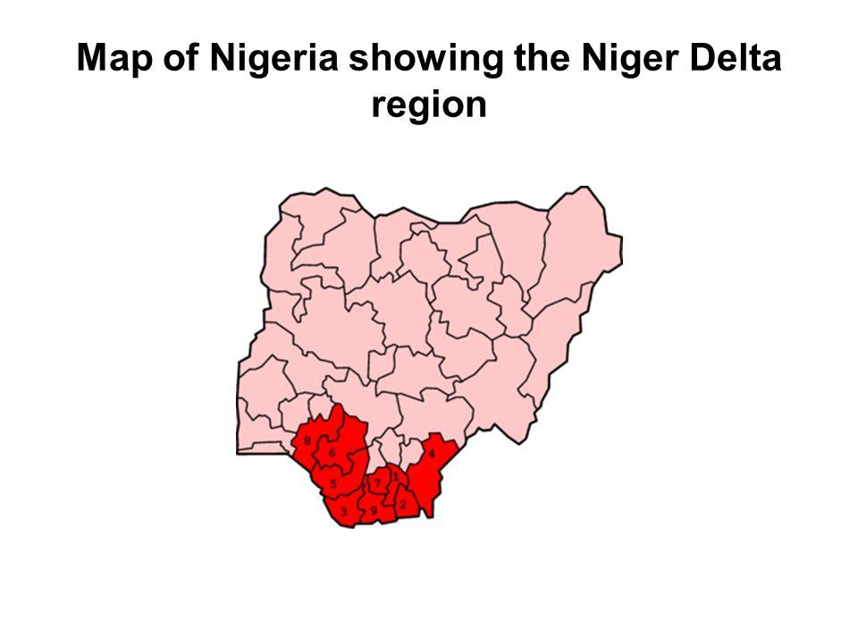 Map of Nigeria showing the Niger Delta region