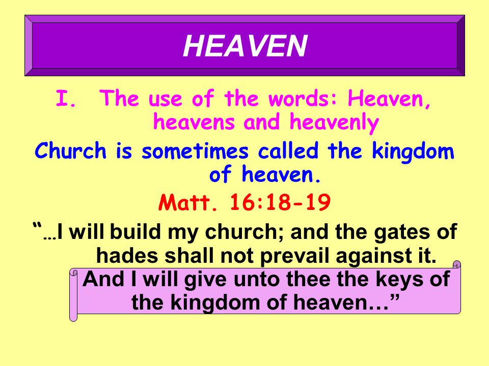 I.The use of the words: Heaven, heavens and heavenly Church is sometimes called the kingdom of heaven.