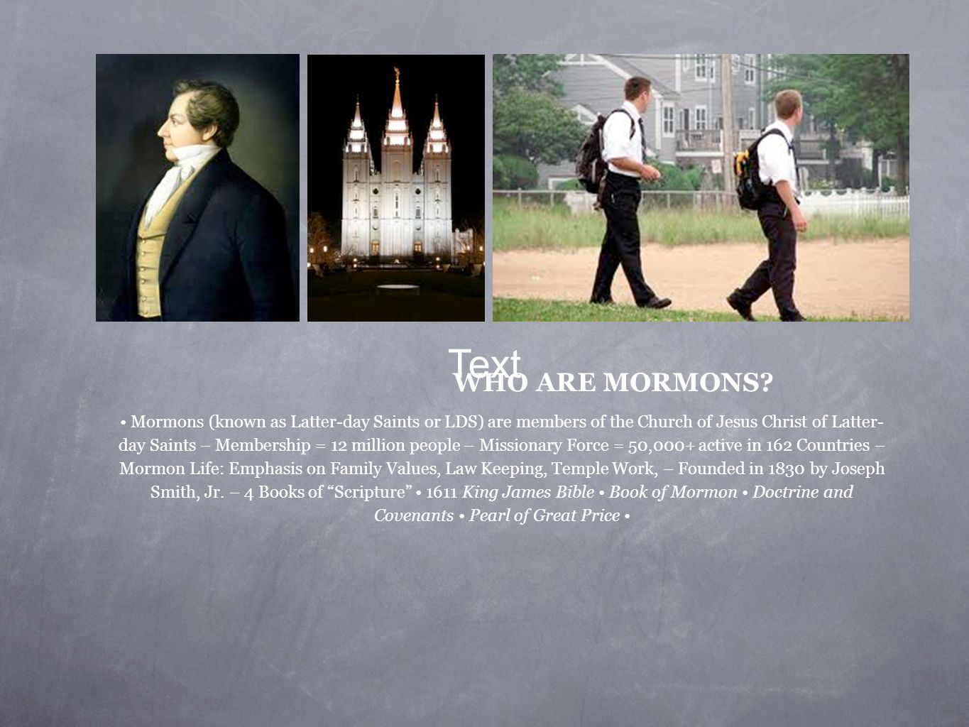 WHO ARE MORMONS.