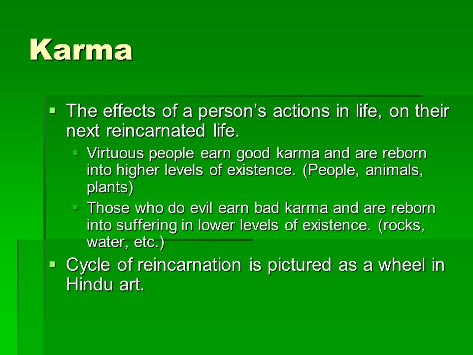 Karma  The effects of a person's actions in life, on their next reincarnated life.