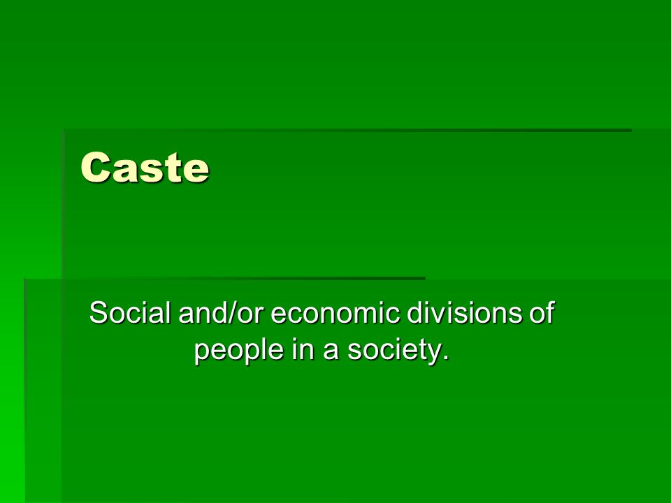 Caste Social and/or economic divisions of people in a society.