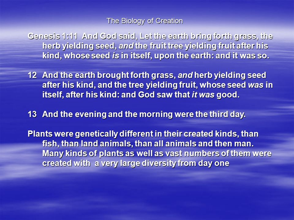 Genesis 1:11 And God said, Let the earth bring forth grass, the herb yielding seed, and the fruit tree yielding fruit after his kind, whose seed is in itself, upon the earth: and it was so.