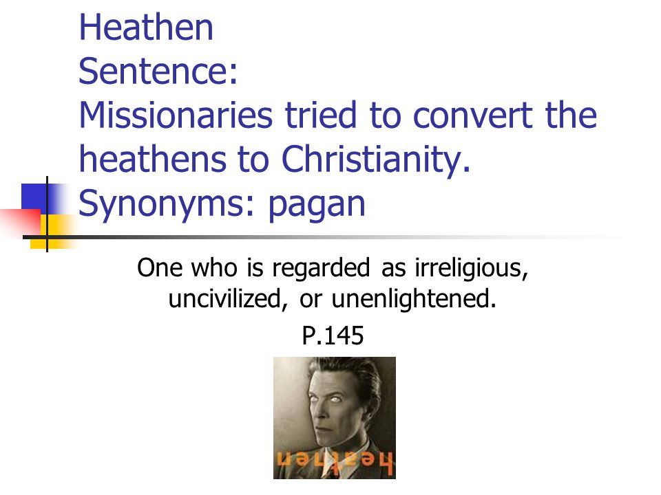 Heathen Sentence: Missionaries tried to convert the heathens to Christianity.