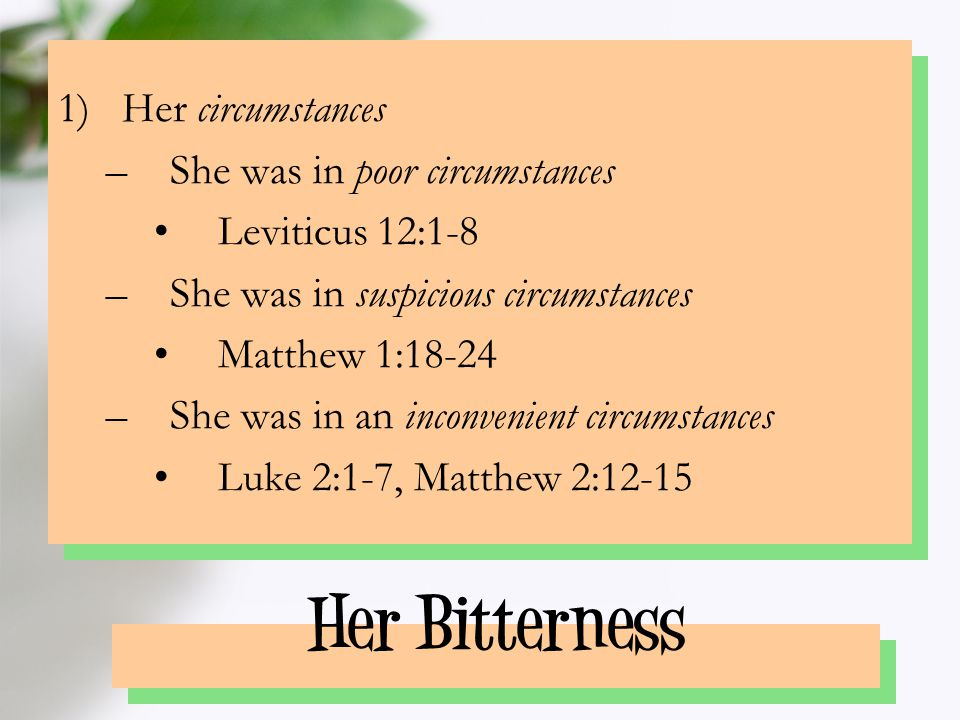 Her Bitterness 2)Her early experiences –Simeon foretold of her sorrow: Luke 2:34-35 …Behold, this child is set for the fall and rising again of many in Israel; and for a sign which shall be spoken against; (Yea, a sword shall pierce through thy own soul also)… –Her young son foretold of her sorrow: Luke 2:49, 51 …wist ye not that I must be about My Father's business?...but his mother kept all these sayings in her heart (vs.19)