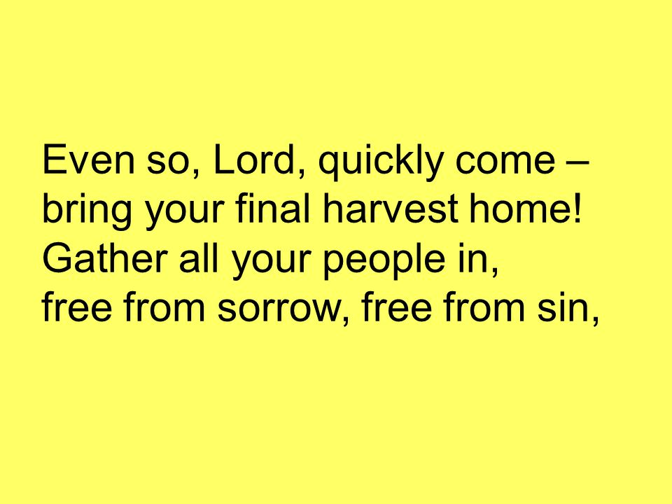 Even so, Lord, quickly come – bring your final harvest home! Gather all your people in, free from sorrow, free from sin,