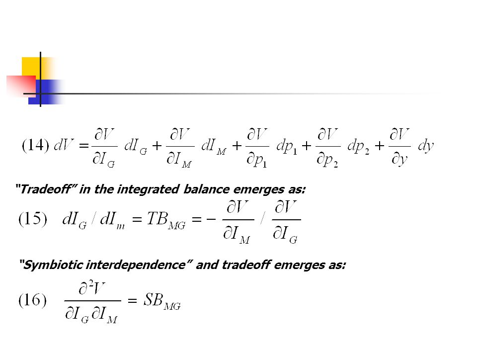 Tradeoff in the integrated balance emerges as: Symbiotic interdependence and tradeoff emerges as: