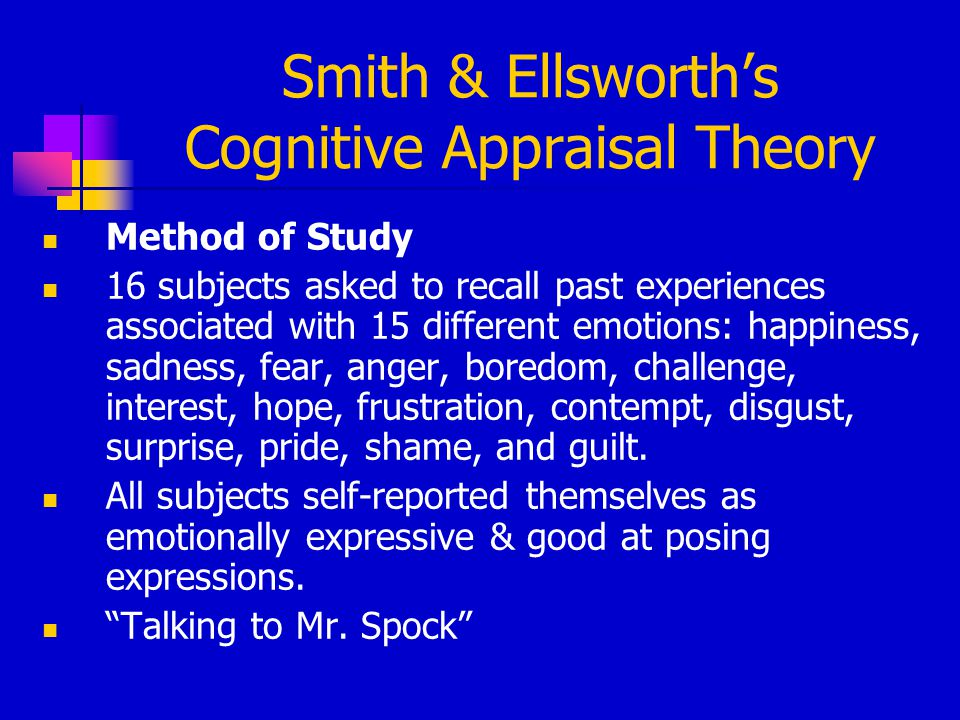 Smith & Ellsworth's Cognitive Appraisal Theory Method of Study 16 subjects asked to recall past experiences associated with 15 different emotions: hap
