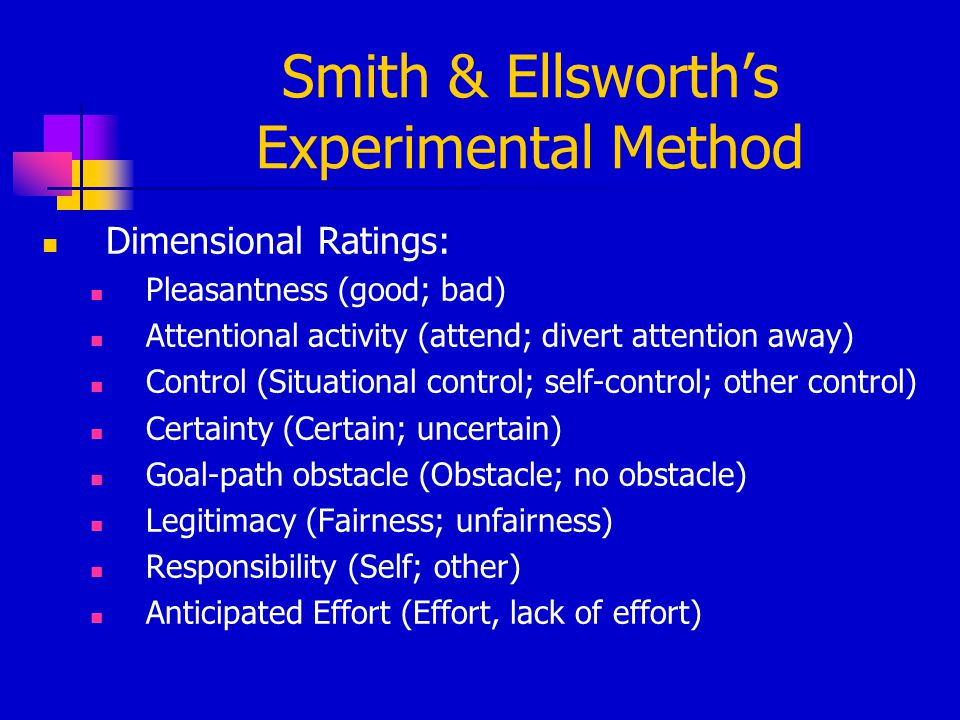 Smith & Ellsworth's Experimental Method Dimensional Ratings: Pleasantness (good; bad) Attentional activity (attend; divert attention away) Control (Si