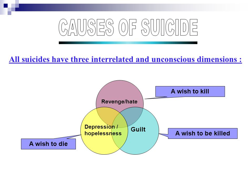 All suicides have three interrelated and unconscious dimensions : Revenge/hate Depression / hopelessness Guilt A wish to kill A wish to die A wish to be killed