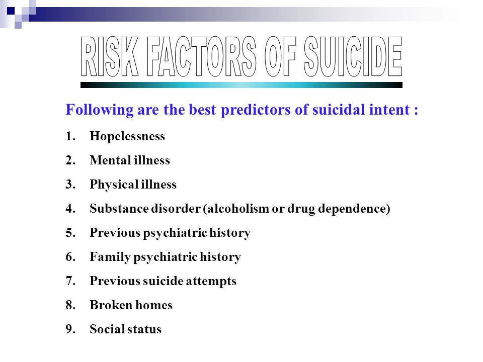 Following are the best predictors of suicidal intent : 1.Hopelessness 2.Mental illness 3.Physical illness 4.Substance disorder (alcoholism or drug dependence) 5.Previous psychiatric history 6.Family psychiatric history 7.Previous suicide attempts 8.Broken homes 9.Social status