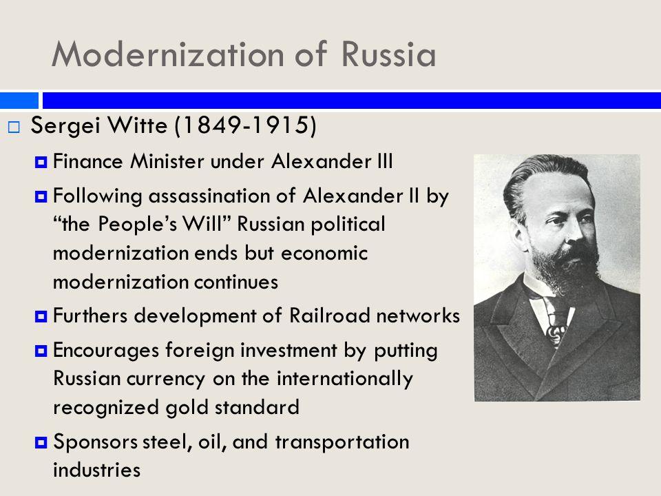 Trans-Siberian Railway Construction began on the Trans-Siberian Railway in 1891 under the direction of Sergei Witte, then Railway Minister.