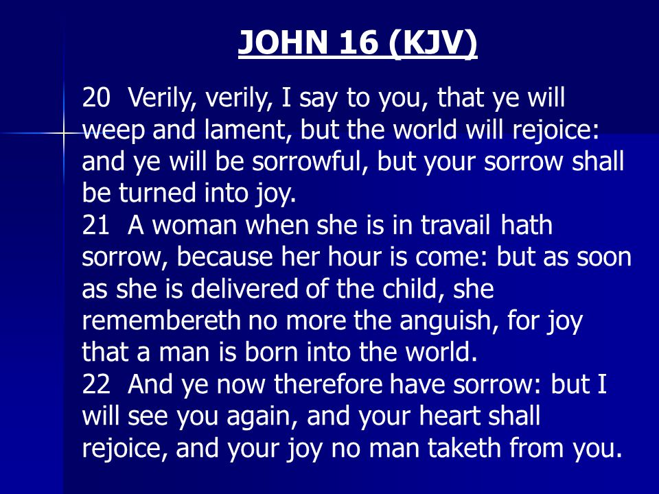 JOHN 16 (KJV) 20 Verily, verily, I say to you, that ye will weep and lament, but the world will rejoice: and ye will be sorrowful, but your sorrow sha