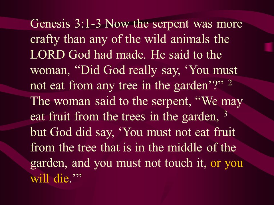 Genesis 3:1-3 Now the serpent was more crafty than any of the wild animals the LORD God had made.