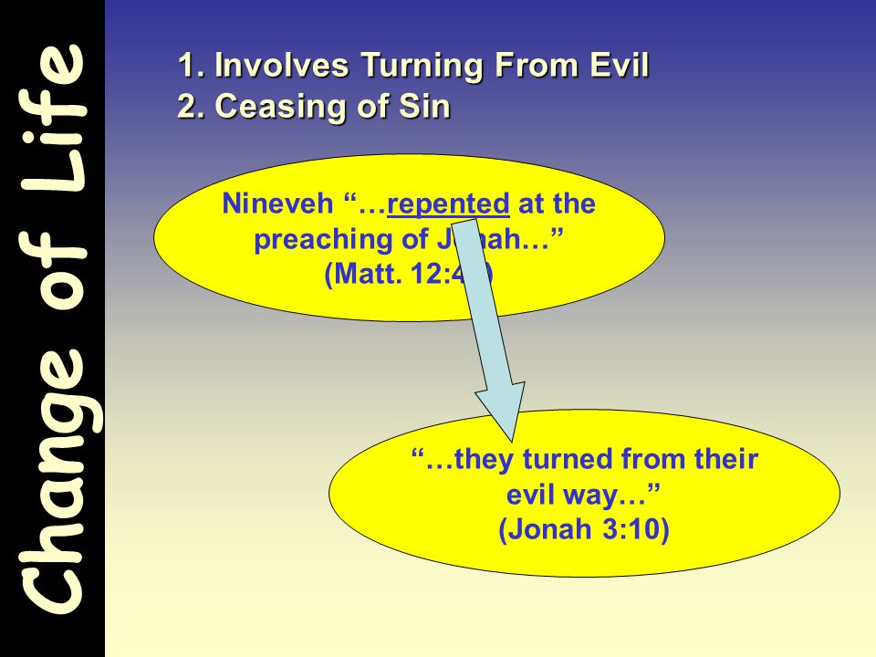 """Change of Life 1. Involves Turning From Evil 2. Ceasing of Sin Nineveh """"…repented at the preaching of Jonah…"""" (Matt. 12:41) """"…they turned from their e"""