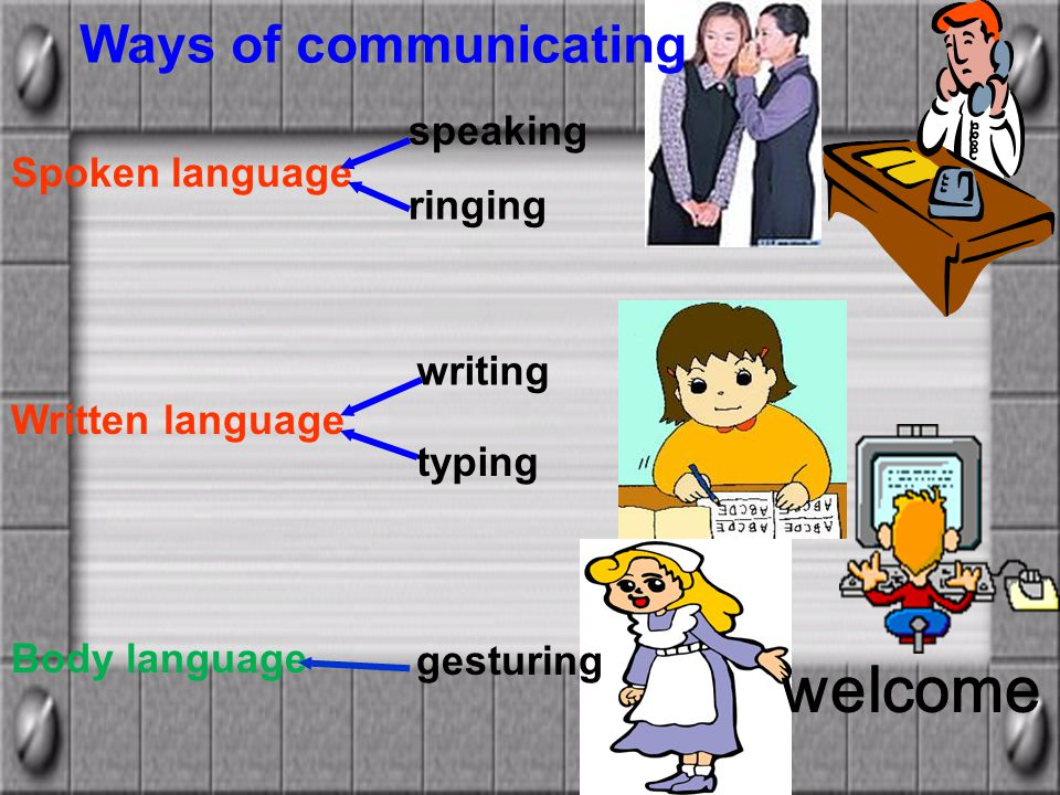 speaking ringing writing typing Spoken language Written language Body language Ways of communicating welcome gesturing