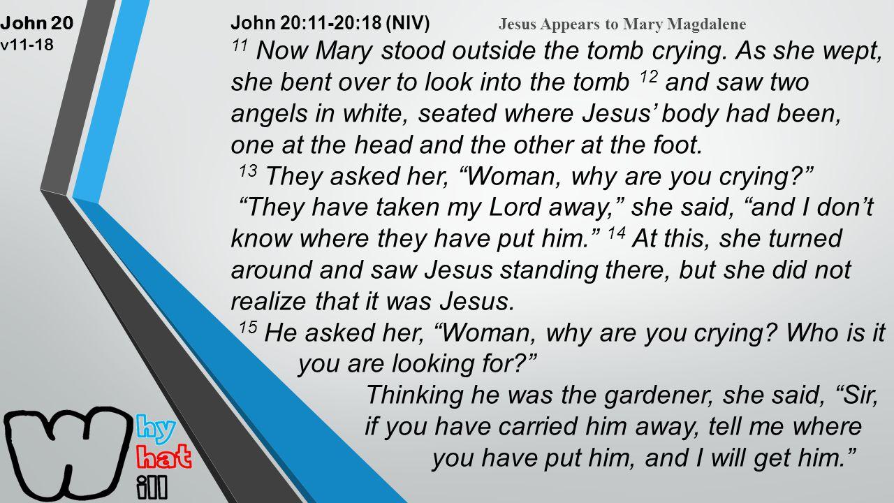 John 20 v11-18 John 20:11-20:18 (NIV) Jesus Appears to Mary Magdalene 11 Now Mary stood outside the tomb crying.