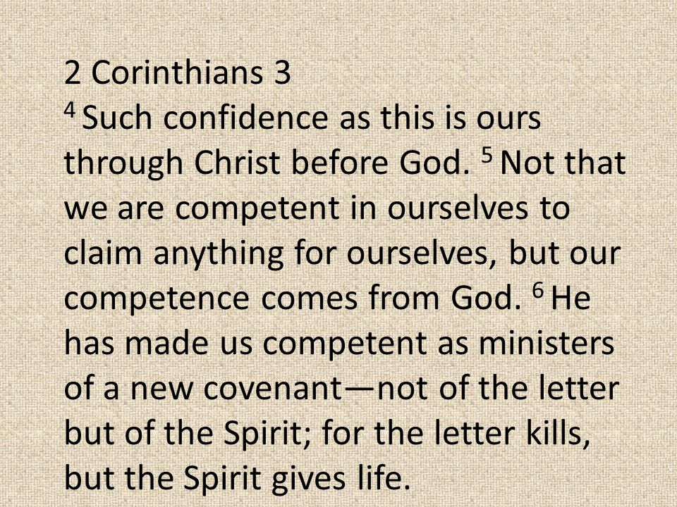 2 Corinthians 3 4 Such confidence as this is ours through Christ before God.