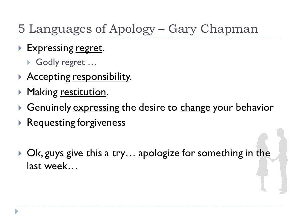 Granting Forgiveness – Gary Chapman/Mark Driscoll (MD) a) Forgiveness is not a feeling.