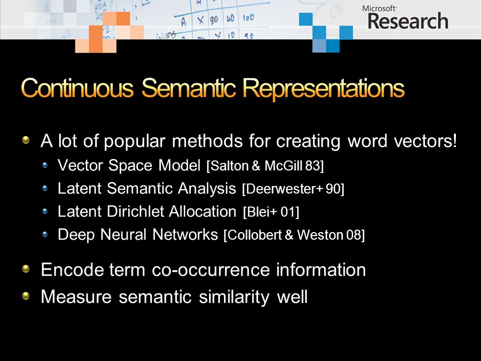 Introduction Background: Latent Semantic Analysis (LSA) Polarity Inducing LSA (PILSA) Multi-Relational Latent Semantic Analysis (MRLSA) Encoding multi-relational data in a tensor Tensor decomposition & measuring degree of a relation Experiments Conclusions
