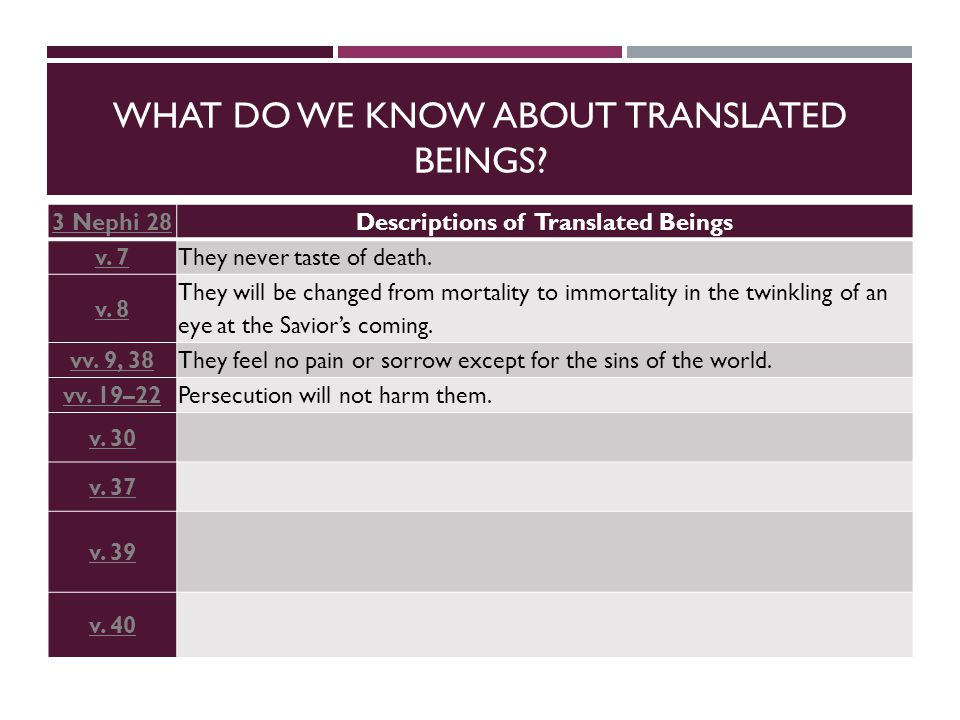 WHAT DO WE KNOW ABOUT TRANSLATED BEINGS. 3 Nephi 28Descriptions of Translated Beings v.