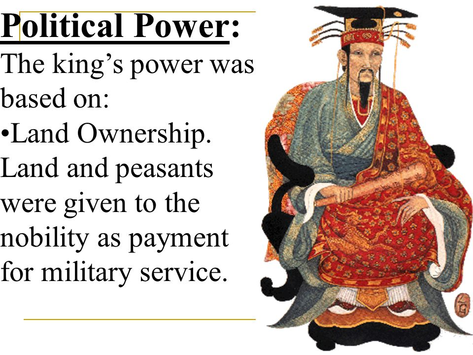 Political Power: The king's power was based on: Land Ownership.