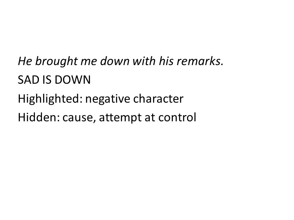 He brought me down with his remarks. SAD IS DOWN Highlighted: negative character Hidden: cause, attempt at control