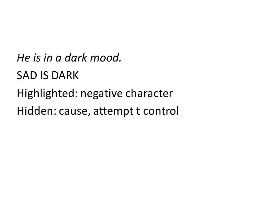 He is in a dark mood. SAD IS DARK Highlighted: negative character Hidden: cause, attempt t control