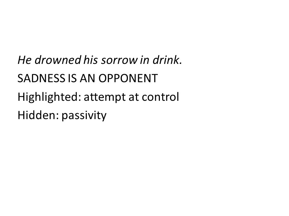 He drowned his sorrow in drink. SADNESS IS AN OPPONENT Highlighted: attempt at control Hidden: passivity