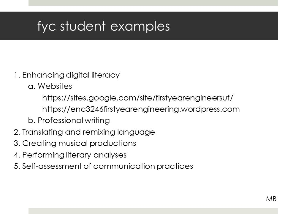 fyc student examples MB 1. Enhancing digital literacy a.