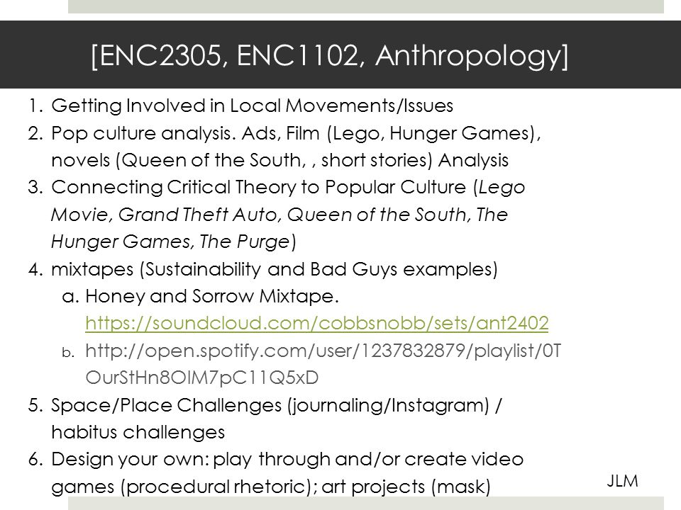 [ENC2305, ENC1102, Anthropology] JLM 1.Getting Involved in Local Movements/Issues 2.Pop culture analysis.