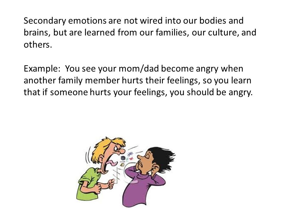Secondary emotions are not wired into our bodies and brains, but are learned from our families, our culture, and others. Example: You see your mom/dad