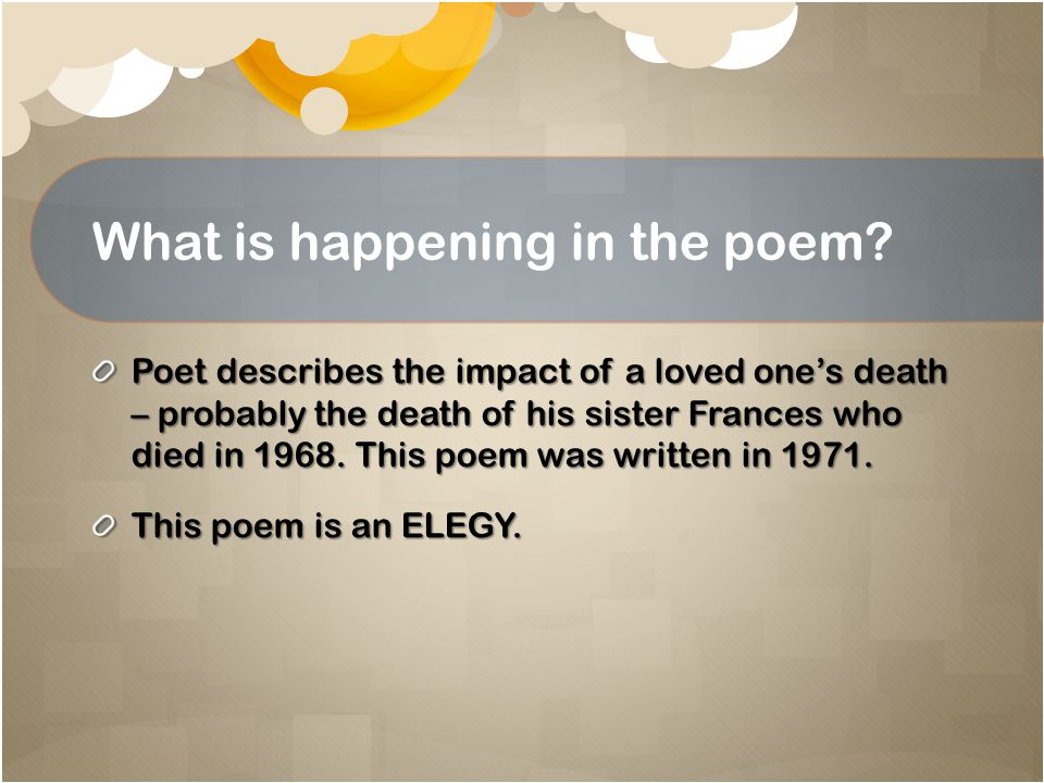 Elegy In literature, an elegy (from the Greek word for lament ) is a mournful, melancholic or plaintive poem, especially a funeral song or a lament for the dead.