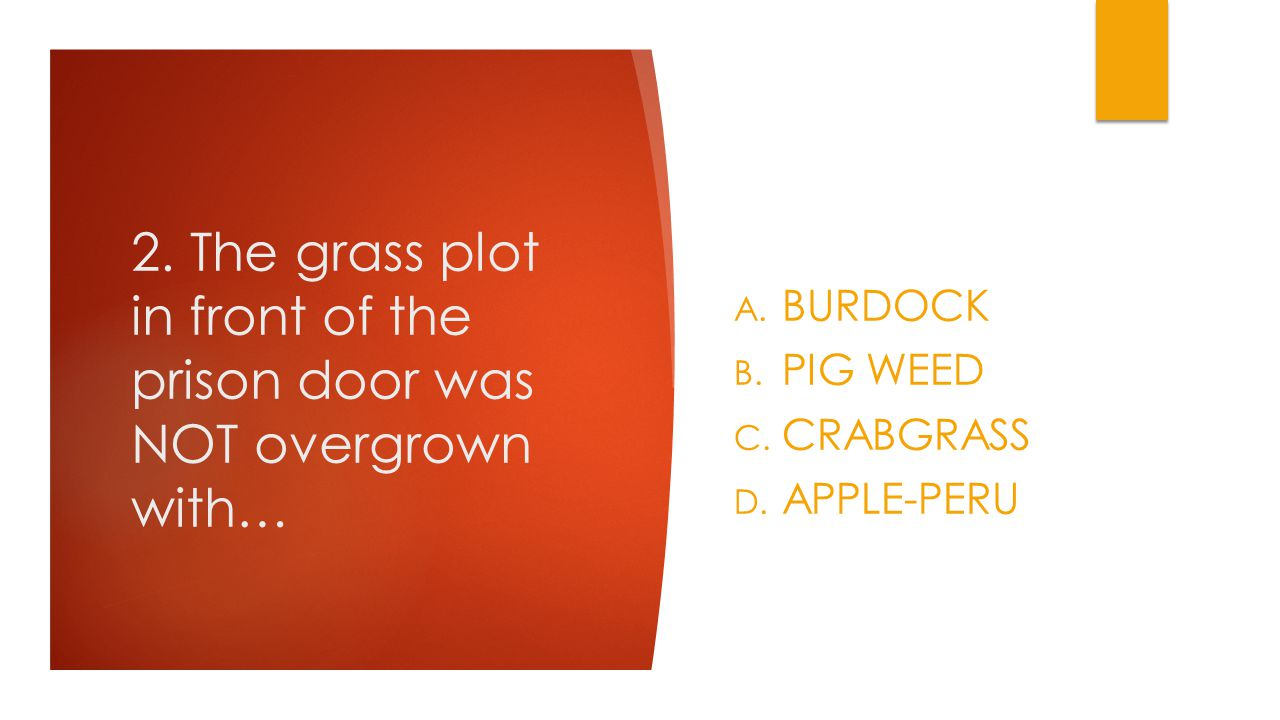 2. The grass plot in front of the prison door was NOT overgrown with… A. BURDOCK B. PIG WEED C. CRABGRASS D. APPLE-PERU