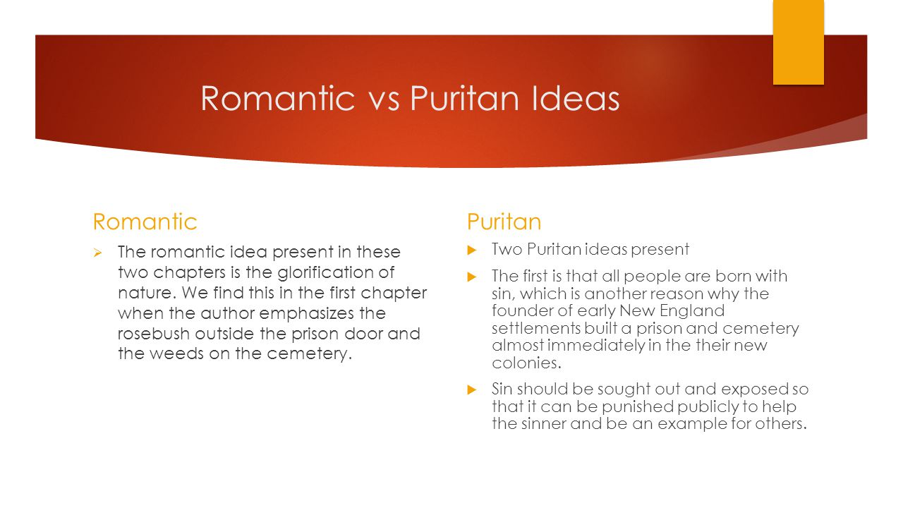 Romantic vs Puritan Ideas Romantic  The romantic idea present in these two chapters is the glorification of nature.