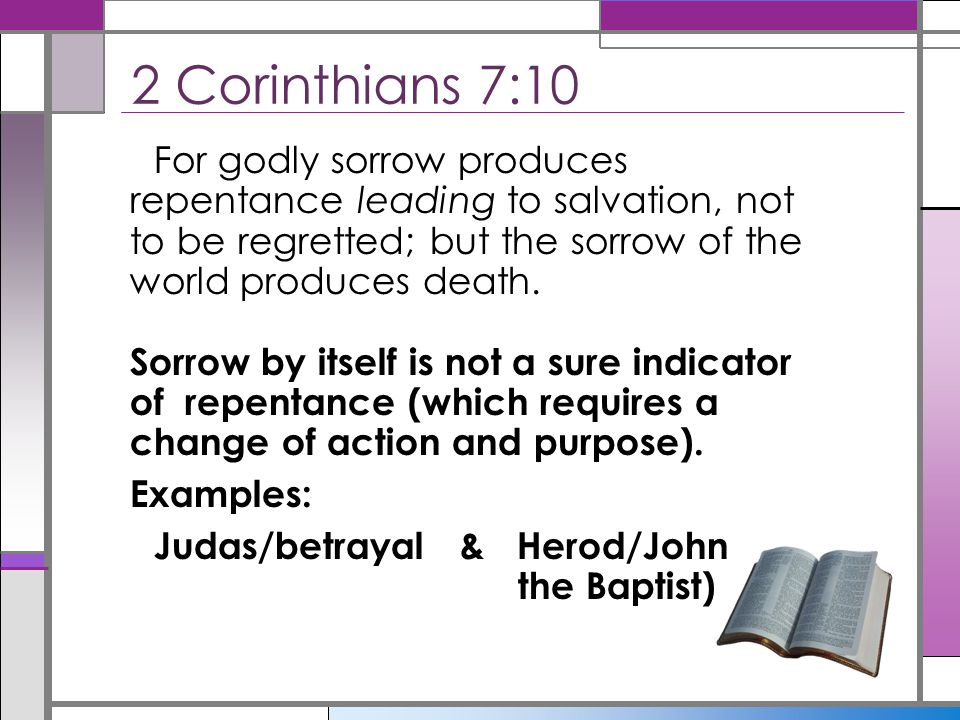 Not denying and covering up sin (Prov.28:13) Not simply being sorry for sin (2 Cor.