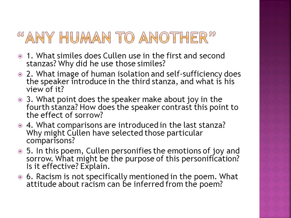  1. What similes does Cullen use in the first and second stanzas.