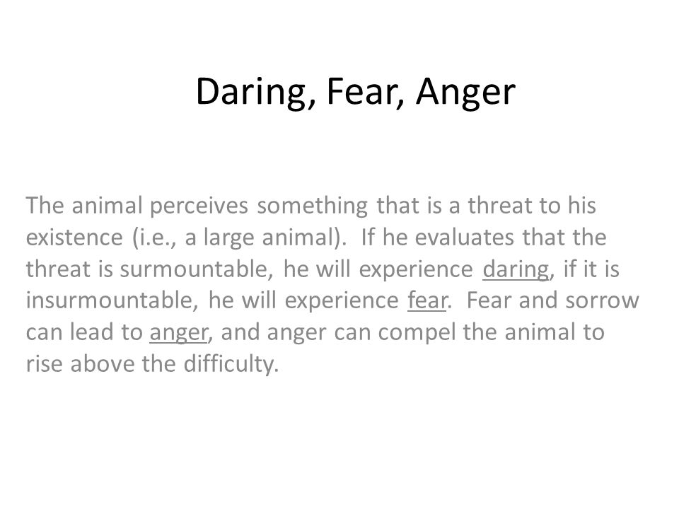 Daring, Fear, Anger The animal perceives something that is a threat to his existence (i.e., a large animal). If he evaluates that the threat is surmou