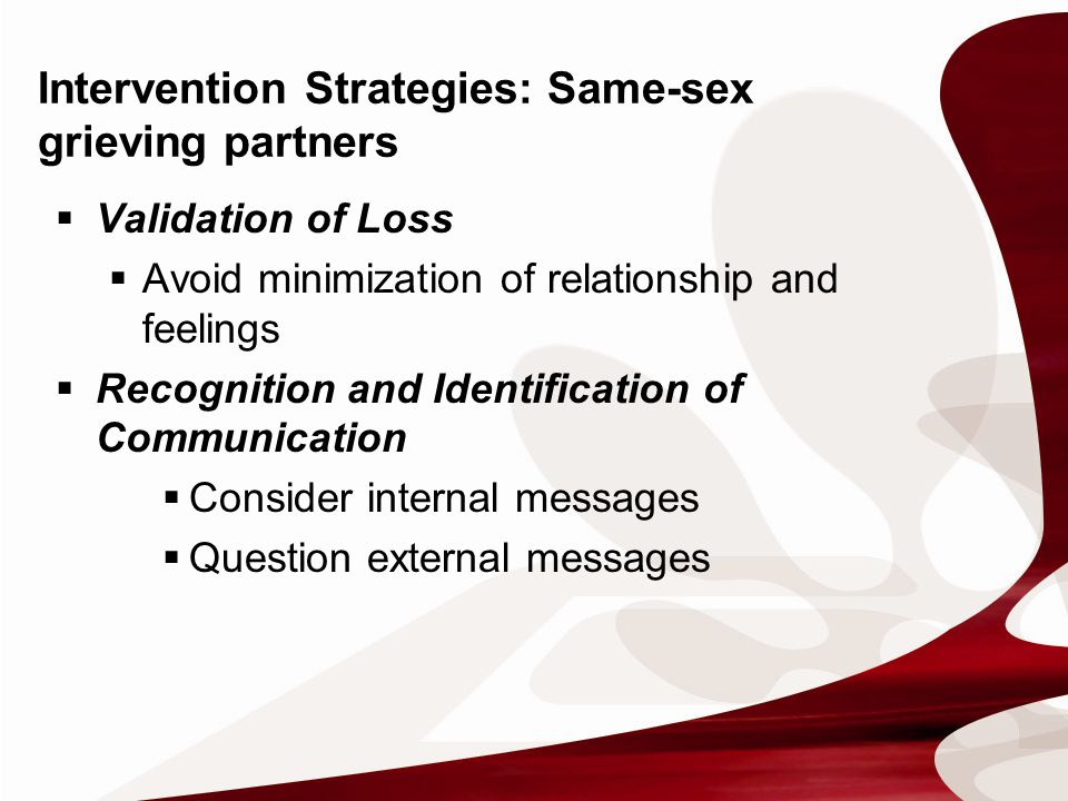  Validation of Loss  Avoid minimization of relationship and feelings  Recognition and Identification of Communication  Consider internal messages  Question external messages Intervention Strategies: Same-sex grieving partners
