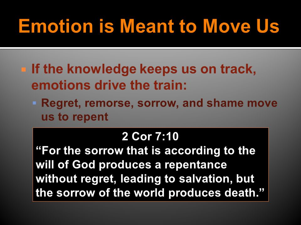 IIf the knowledge keeps us on track, emotions drive the train: GGuilt moves us to seek forgiveness