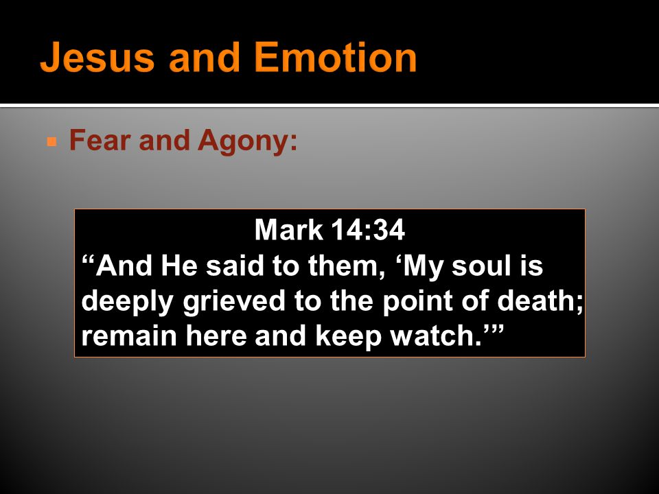  Fear and Agony: Mark 14:34 And He said to them, 'My soul is deeply grieved to the point of death; remain here and keep watch.'