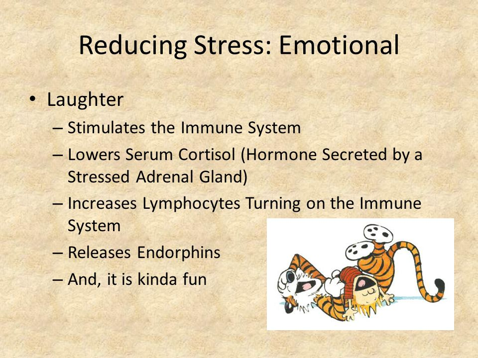 Reducing Stress: Emotional Laughter – Stimulates the Immune System – Lowers Serum Cortisol (Hormone Secreted by a Stressed Adrenal Gland) – Increases Lymphocytes Turning on the Immune System – Releases Endorphins – And, it is kinda fun
