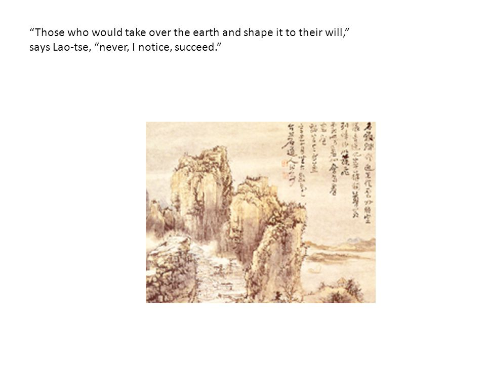 Those who would take over the earth and shape it to their will, says Lao-tse, never, I notice, succeed.