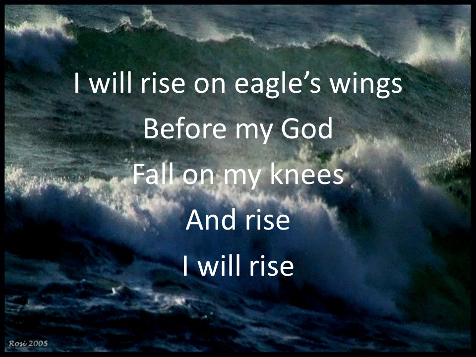 I will rise on eagle's wings Before my God Fall on my knees And rise I will rise