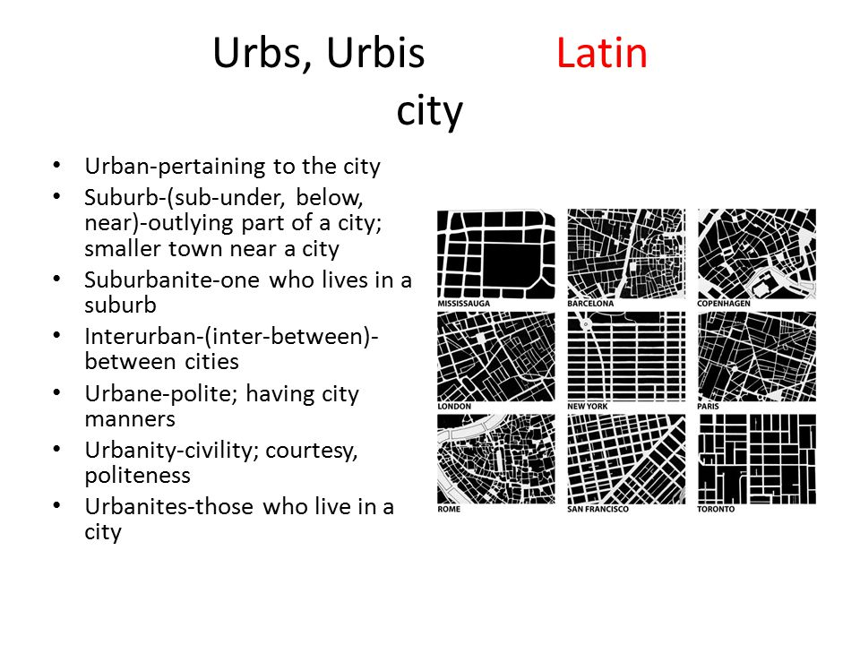 Urbs, UrbisLatin city Urban-pertaining to the city Suburb-(sub-under, below, near)-outlying part of a city; smaller town near a city Suburbanite-one w
