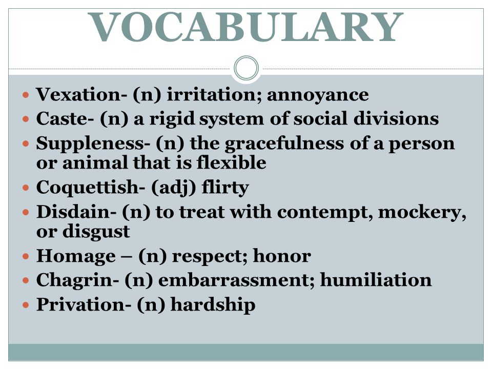 VOCABULARY Vexation- (n) irritation; annoyance Caste- (n) a rigid system of social divisions Suppleness- (n) the gracefulness of a person or animal th