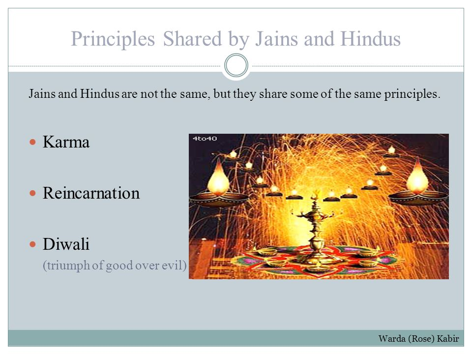 Principles Shared by Jains and Hindus Jains and Hindus are not the same, but they share some of the same principles.