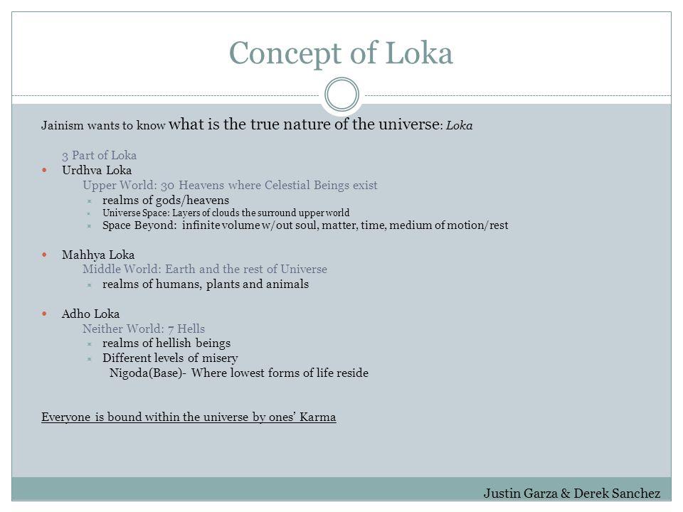 Concept of Loka Jainism wants to know what is the true nature of the universe : Loka 3 Part of Loka Urdhva Loka Upper World: 30 Heavens where Celestia