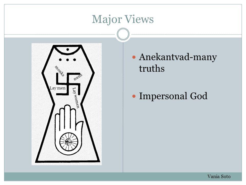Major Views Anekantvad-many truths Impersonal God Vania Soto monks nuns Lay menLay women
